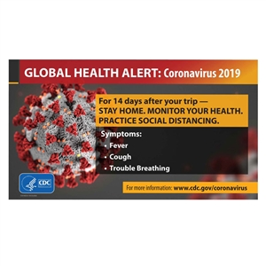 Global Coronavirus Travel Health Alert Sign