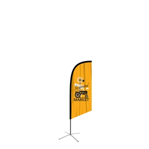 small angled feather flag single side graphic
