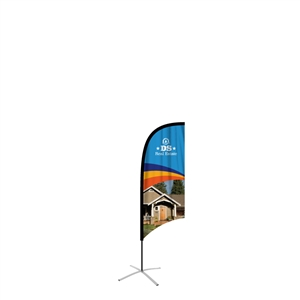 feather flag small concave single sided graphic