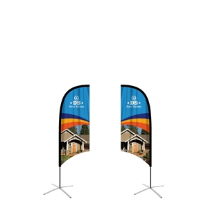 feather flag small concave double sided graphic