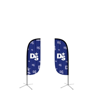 feather flag small convex double sided graphic