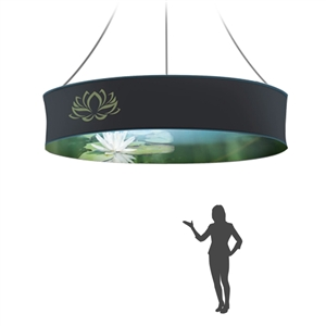 Graphic 12ftX6in round double-sided hanging banner