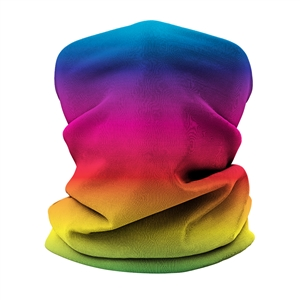 Versatile tubular neck gaiter face mask with a rainbow design.