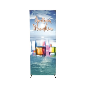 small X-banner with vinyl graphic